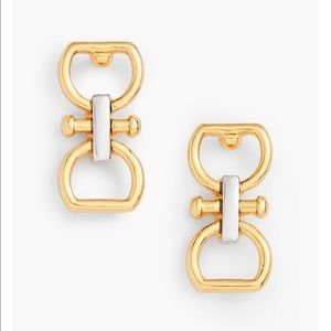 Talbots equestrian links two tone earring